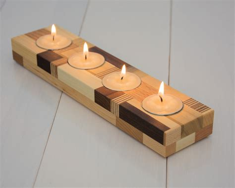 kerzenhalter kommunionkerze wood candle holder tea light candle holder home by ecokazen