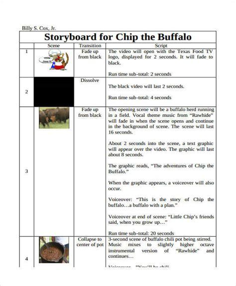 script storyboard 6 script storyboard exles in word pdf sle