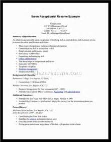 resume sles for receptionist resume as a receptionist sales receptionist lewesmr