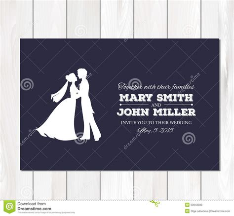 and groom card template vector wedding invitation with profile silhouettes
