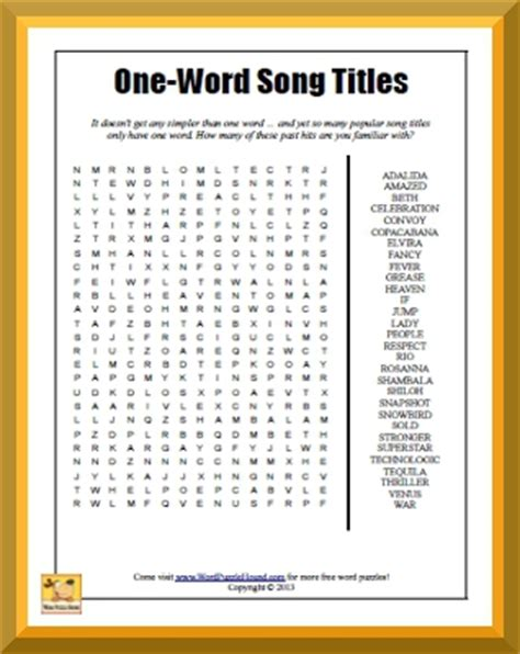 One Look Dictionary Lookup One Word Song Titles Word Search Word Puzzle Hound