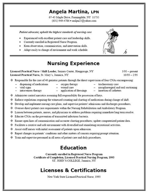 Resume Exles For Lpn Resume Exle Lpn Resume Exle Resume Licensed Practical