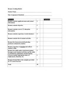 Resume Rubric High School by Resume Grading Rubric