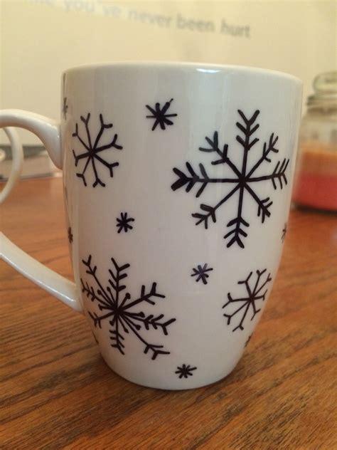 diy sharpie mug designs diy sharpie snowflake coffee mug basteln