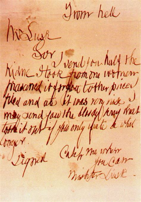 cover letters from hell the ripper the quot from hell quot letter