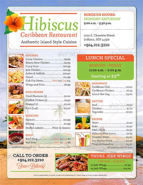 35 Breakfast Menu Templates Psd Eps Indesign Free Premium Templates Free Caribbean Menu Template