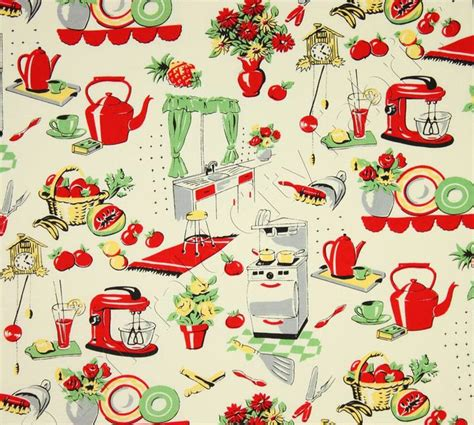 michael miller fabric fifties kitchen retro 50 s kitchen