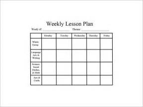 Weekly Lesson Plan Template by Weekly Lesson Plan Templates For Preschool Teachers