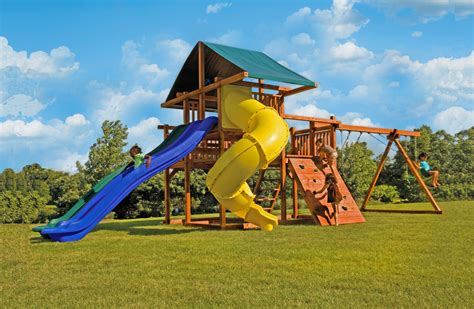 swing sets with slides high wire big backyard swingset with side by side slides