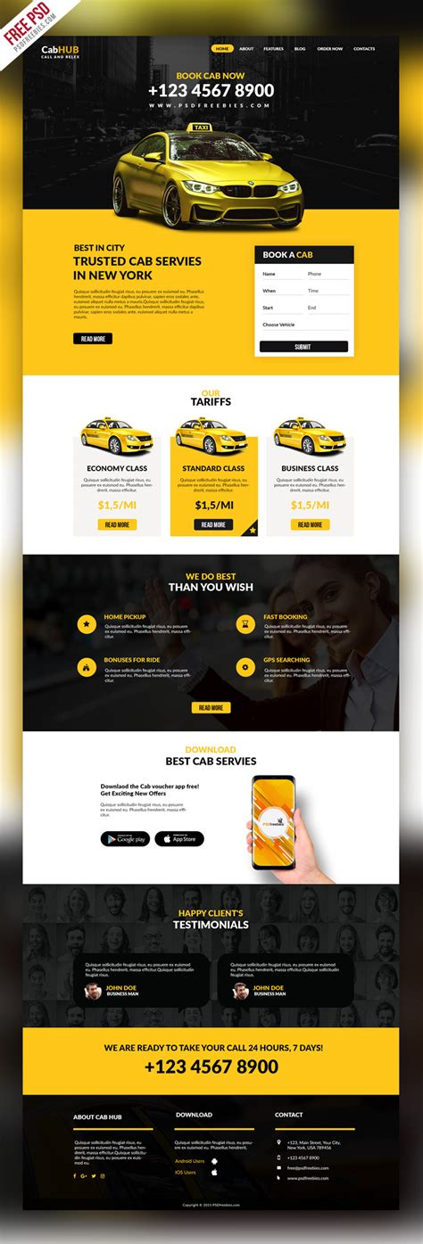Taxi Cab Service Company Website Template Psd Taxi Company Website Template
