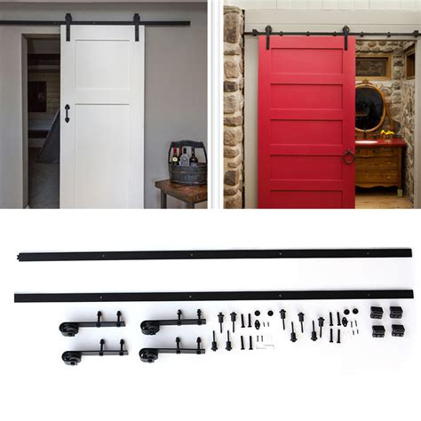 12ft Black Bypass Country Sliding Barn Double Wood Door Bypass Sliding Closet Door Hardware