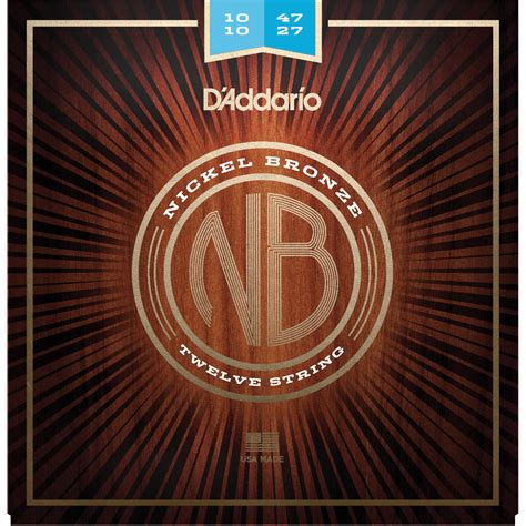 D Addario Nb1047 12 Light Nickel Bronze Acoustic Nb1047 12 B H D Addario Light Acoustic Guitar Strings
