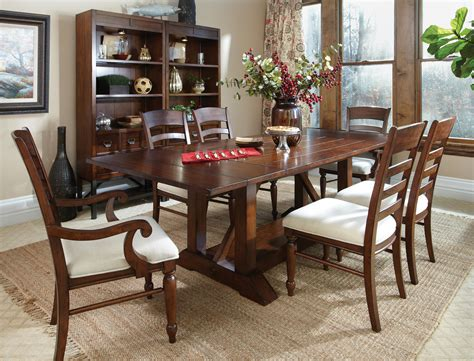 Klaussner Dining Room Furniture Carolina Preserves By Klaussner Blue Ridge 7 Trestle Table With Ladder Back Chairs Set