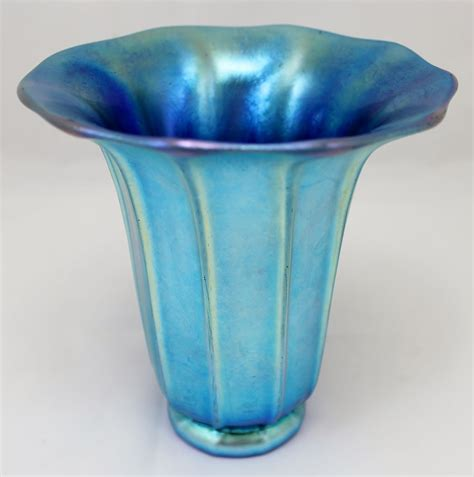 Vase Shading by Steuben Blue Aurene Shade Shaped Glass Vase Signed From Nhantiquecoop On Ruby