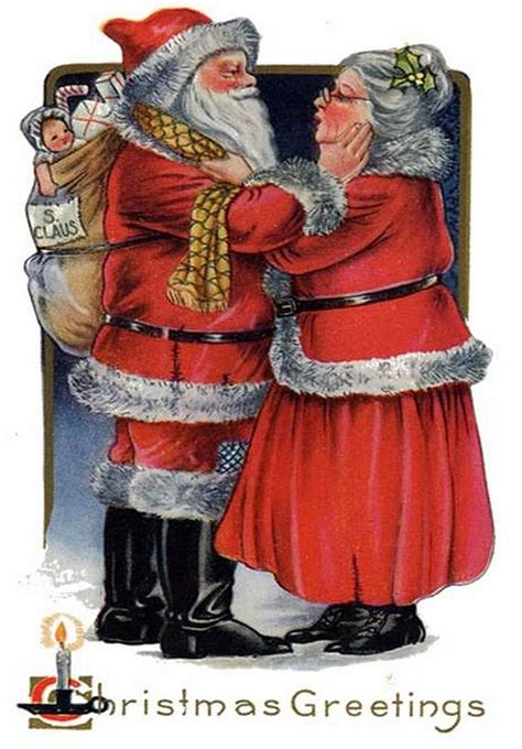 imagenes de santa claus y mama claus vintage christmas greetings from mr and mrs claus painting
