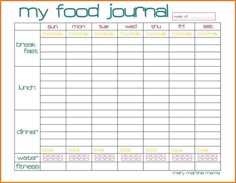 Calorie Counter Calendar Printable