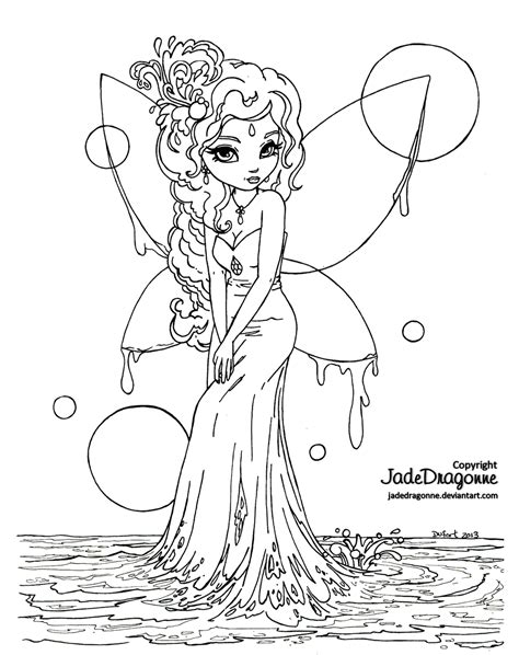 coloring pages of boy fairies water fairy lineart by jadedragonne on deviantart