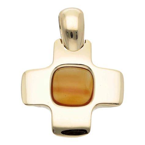 croce pomellato ciondolo croce pomellato in oro giallo con quarzo citrino