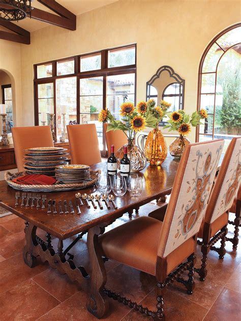 elm dining table  mediterranean inspired dining room hgtv