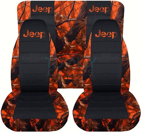 Orange Jeep Seat Covers Jeep Wrangler Yj Tj Jk 1987 2017 Camo Black Seat Covers