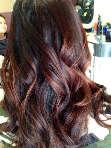 partial red highlights on dark brown hair best 25 red balayage ideas on pinterest red balayage