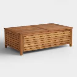 Wood Coffee Table With Storage Wood Praiano Outdoor Storage Coffee Table World Market