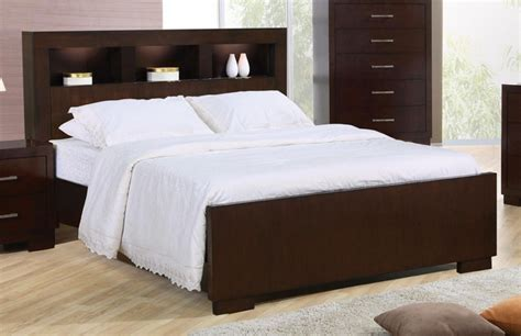 Queen Bed with Storage Headboard and Built in Lighting by