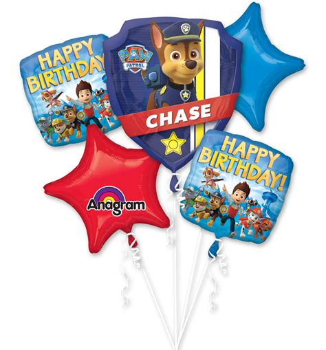 Paw Patrol Decorations by Paw Patrol Supplies Bouquet 5 Helium Foil Balloons