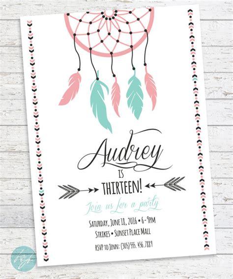 printable birthday cards for a teenage girl boho birthday invitation aztec tribal invitation by