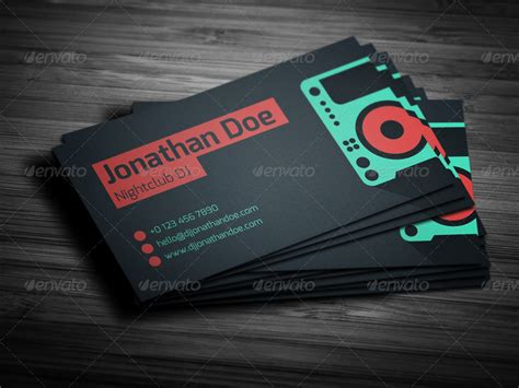 Card Preview by Flat Dj Business Card By Vinyljunkie Graphicriver