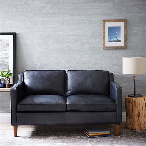 west elm hamilton hamilton leather loveseat 56 quot west elm