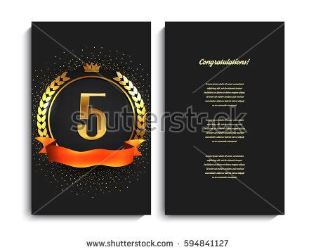 5th anniversary card template 70th anniversary decorated greeting card template stock