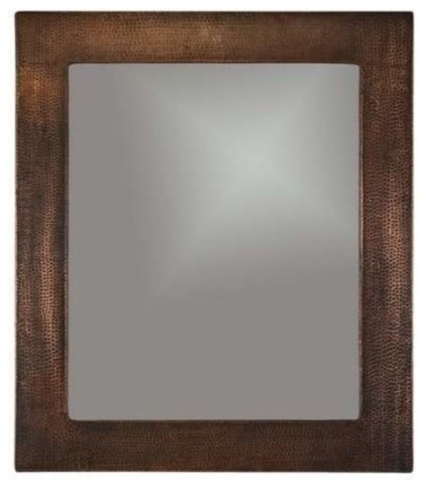 copper mirror hammered rustic bathroom mirrors by