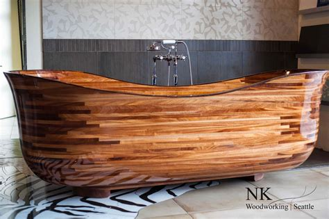 custom woodwork and design wooden bathtubs for modern interior design and luxury