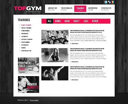 templates bodybuilder for photoshop download bodybuilding website template 38506