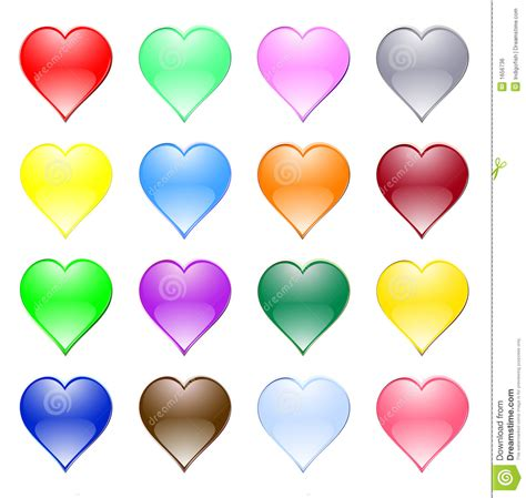 colored hearts multi coloured hearts stock vector illustration of