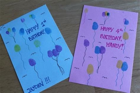 card craft thumbprint birthday cards family crafts