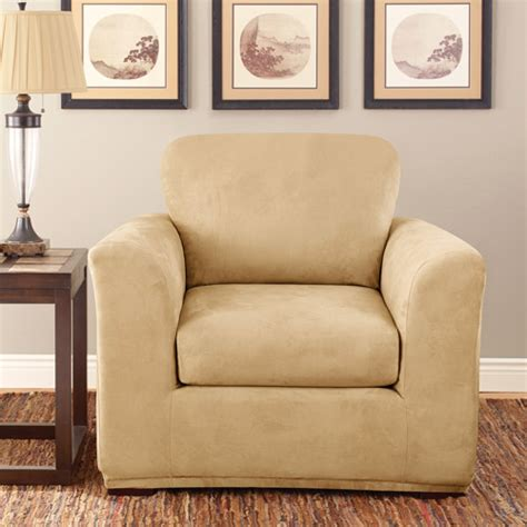 walmart sure fit slipcovers sure fit stretch suede 2 piece chair slipcover walmart com