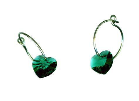Self Piercing Sleeper Earrings by Titanium Sleeper Earrings With Emerald Hearts