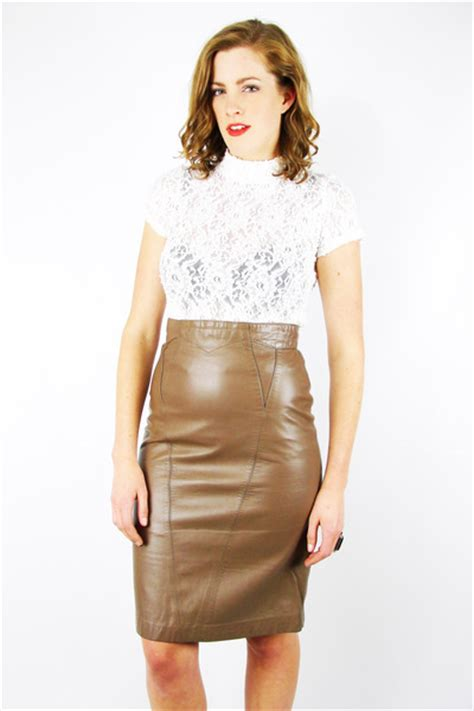 trashy vintage skirts quot caramel leather pencil mini