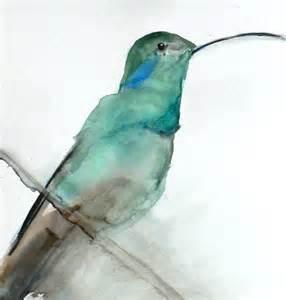 Print living room wall decor watercolor hummingbird art august