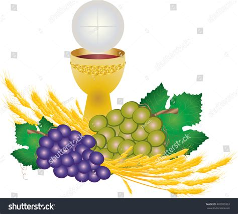 hos images eucharist symbols bread wine chalice host stock vector
