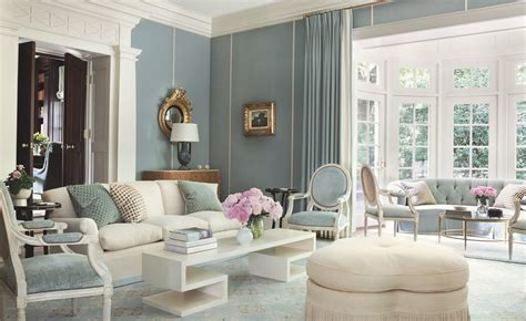 white  light blue classic living interiors  color