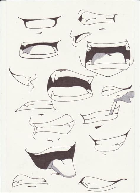 how to draw mouths anime coloring pages