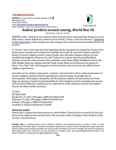 ap style press release template press release partridge for quot avatar quot