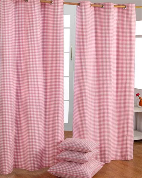 pink gingham curtains cotton gingham check pink ready made eyelet curtains
