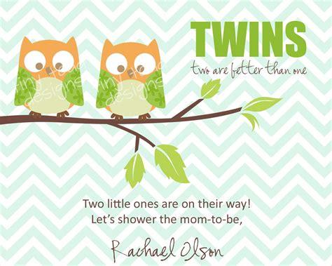 Baby Shower Ideas Twin Boys - twins baby shower invitations boys owls diy printable