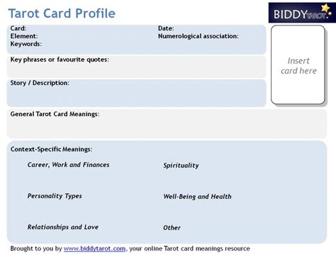 profile card template rapidly deepen your tarot knowledge with tarot card
