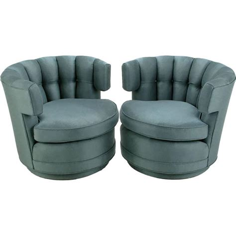 Pair Of Cadet Blue Wool Felt Button Tufted Swivel Barrel Tufted Swivel Chair