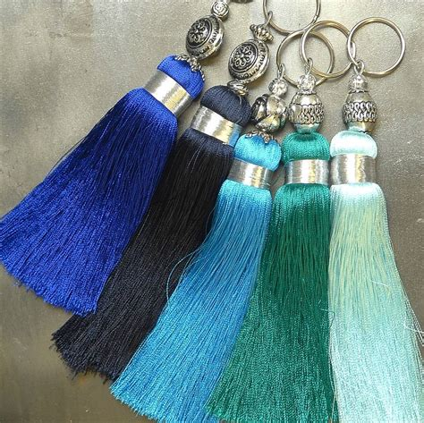 Handmade Tassels - blue handmade silky tassel key ring by skoura